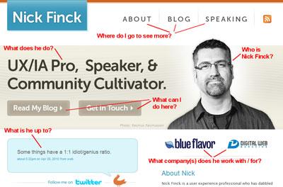 nickfinck.com: Above the Fold